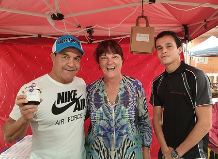 Jeff Fenech, Wendy the jam Maker, and Brock Jarvis at Bulli Market