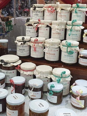 Display of jars of Jam and relish