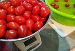 Washing and weighing tomatoes for Tomato relish